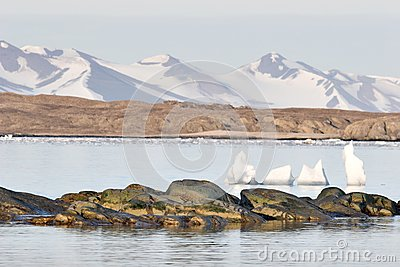 Mountains over the Arctic fjord - Spitsbergen, Svalbard