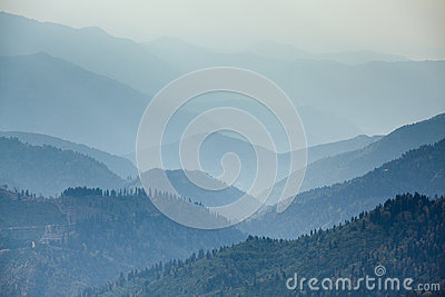 Mountains range in mist