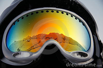 Mountains reflected in glasses
