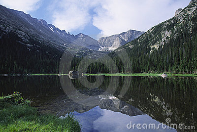 Mountains reflecting in a lake