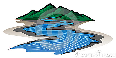 Mountains and River Vector Illustration