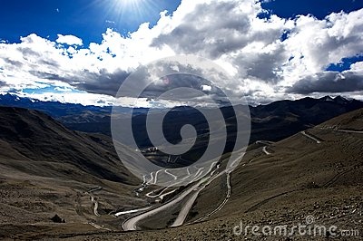 Mountains and road in Qinghai-Tibet Plateau