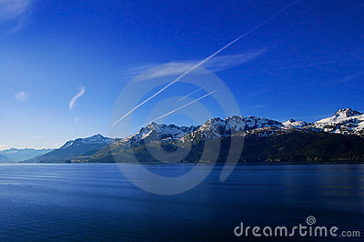 Mountains with streaks in sky