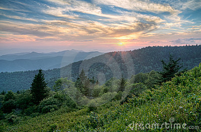Mountains Summer Sunset Landscape in Blue Ridge