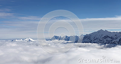 Mountains summits and clouds