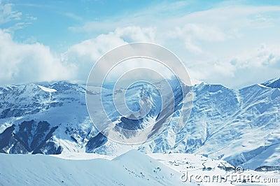 Mountains under snow in winter
