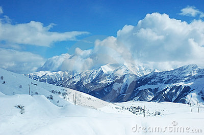Mountains under snow in winter