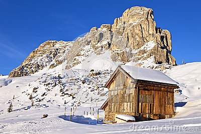 Mountains view and alpine hut at Giau pass, Dolomite Alps
