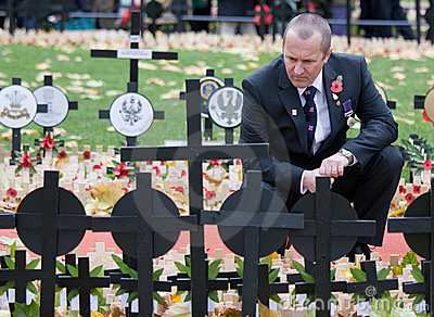 Mourner at Remembrance sunday Editorial Stock Photo
