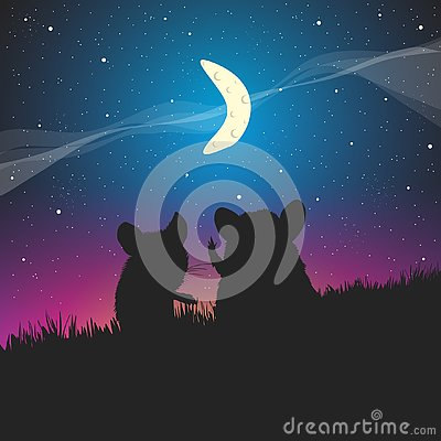 Free Mouse And A Crescent Moon In The Sky. Royalty Free Stock Images - 133540469