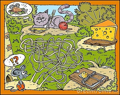 Mouse, Cheese, Cat and Trap Labyrinth