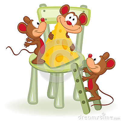 Mouse with cheese on a chair