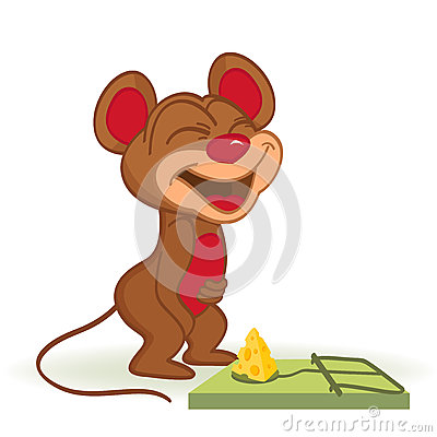 Mouse and cheese in mousetrap