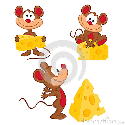 Mouse and cheese in a variety of actions