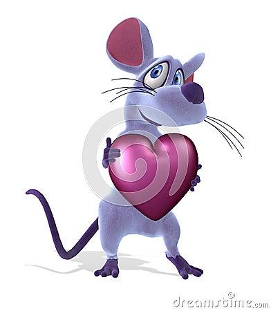 Mouse con cuore - pastello