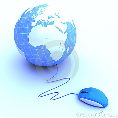 Mouse connected to a globe