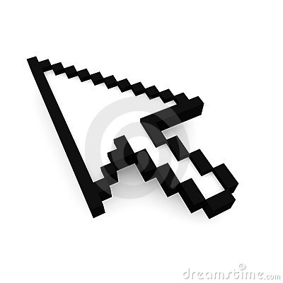 Mouse cursor isolated with clipping path