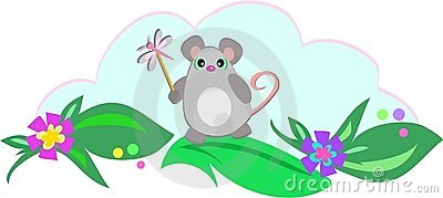 Mouse with Dragonfly Stick
