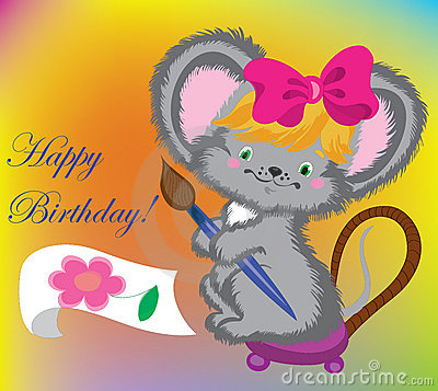The mouse draws a card on birthday.