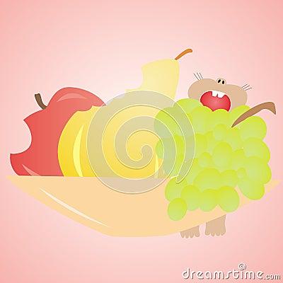 Mouse eats fruit, apple, pear, grapes