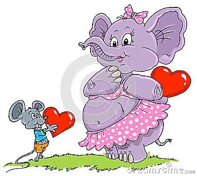 Mouse & Elephant Love - Cartoon Illustration
