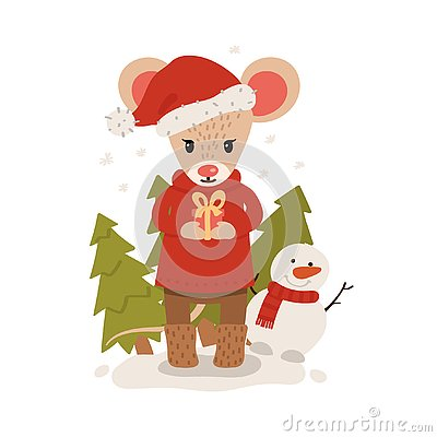 Mouse with gift box among christmas trees. Christmas and New Year character isolated on a white background. Postcard. Vector Cartoon Illustration