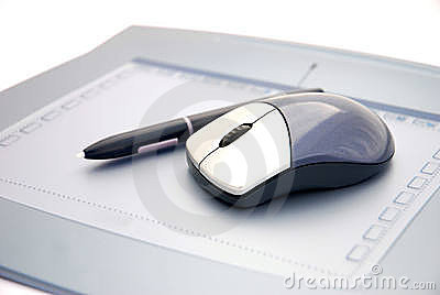 Mouse on graphic tablet