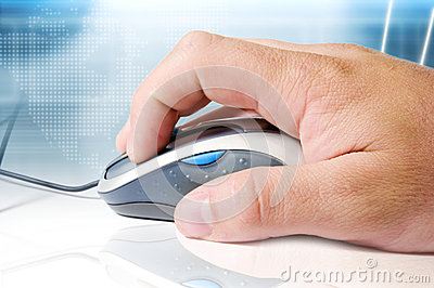 Mouse, hand and high tech background