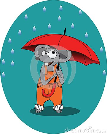 Free Mouse In Rain Autumn With Umbrella -  Illustration, Eps Royalty Free Stock Image - 45157216