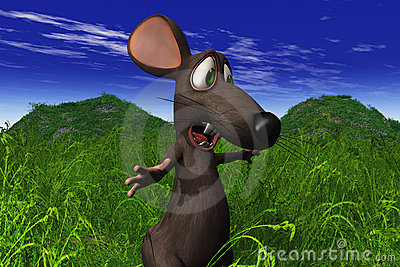 Mouse Looking Shocked In A Field