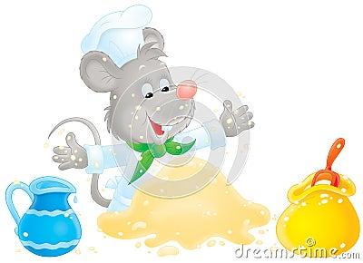 Mouse making dough