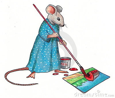 Mouse Making A Painting: Color Pencil Drawing