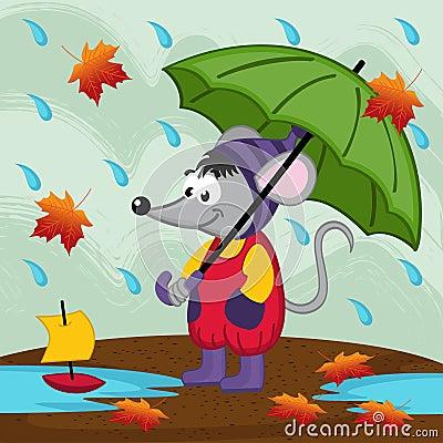 Mouse in rain autumn