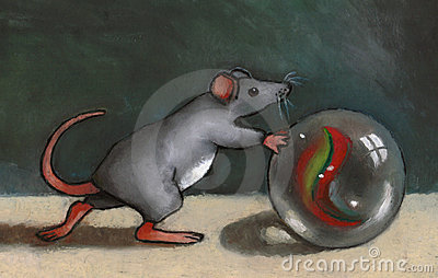 Mouse Rolling Marble: Oil Pastel