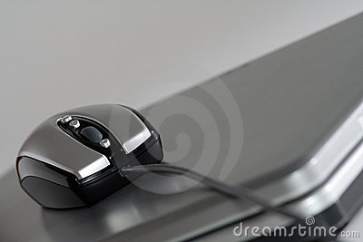 Mouse on a silver laptop