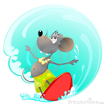 Mouse on Surfing Board