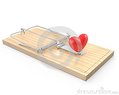 Mouse trap with a red heart