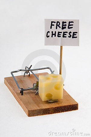 Free Mouse Trap With Cheese And Free Cheese Sign. Stock Image - 779491