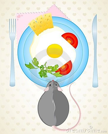 Mouse wants to eat the fried eggs