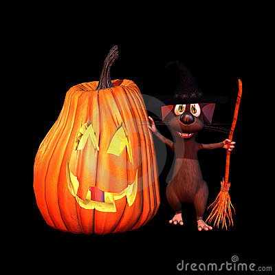 Mouse Witch with Jack O Lanter