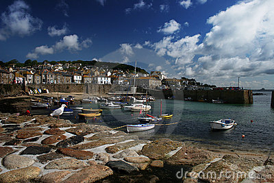 Mousehole harbor in Cornwall UK
