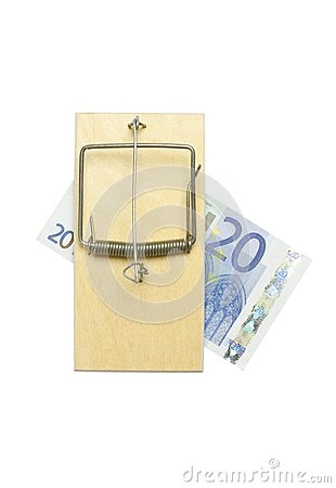 Mousetrap and euro bill