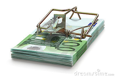 Mousetrap made of one hundred euro banknotes.