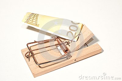 Mousetrap z 200-Euro-Note
