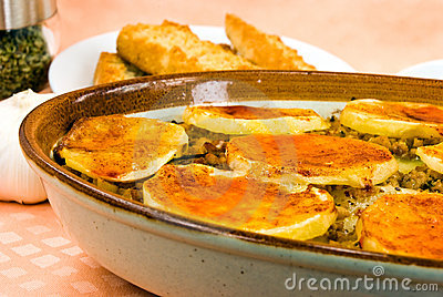 Moussaka-casserole- with cheese,eggplant and baked
