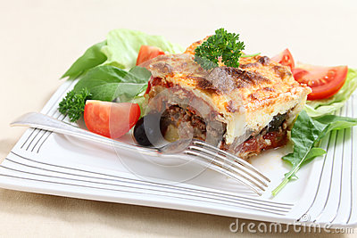 Moussaka and fork