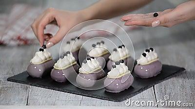 Mousse βακκινίων το κέικ ολοκλήρωσε με τα βακκίνια και κτύπησε την κρέμα στο κατάστημα αρτοποιείων φιλμ μικρού μήκους