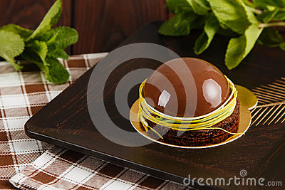 mousse cake with chocolate mirror glaze stock photo image 70336327. Black Bedroom Furniture Sets. Home Design Ideas