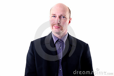 Moustache happy smug businessman