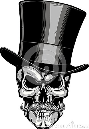 Free Moustached Skull In A Hat. Royalty Free Stock Photo - 105591015